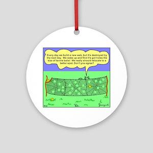 Tennis Court Spider Cartoon B Round Ornament