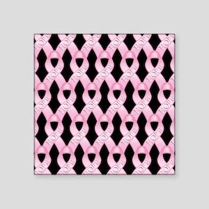 """PinkHopeRibPatBsq Square Sticker 3"""" x 3"""""""