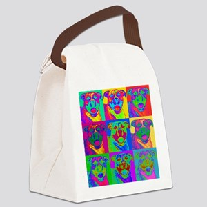 Op Art Pitbull Canvas Lunch Bag