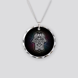Hamsa 2 Necklace Circle Charm