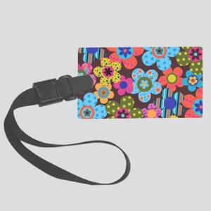 Retro Flowers Bags Large Luggage Tag