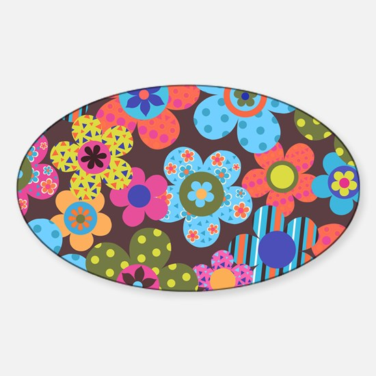 Retro Flowers Bags Sticker (Oval)