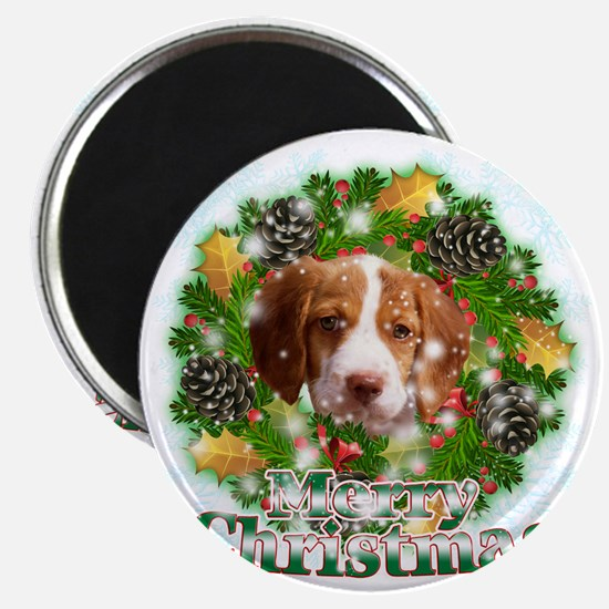 Merry Christmas Brittany Spaniel Magnet