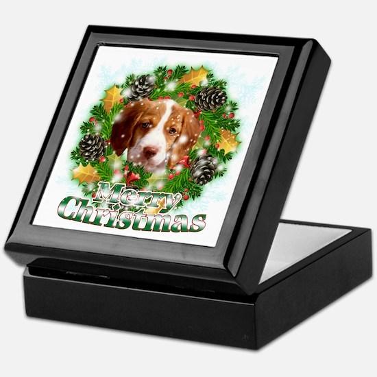 Merry Christmas Brittany Spaniel Keepsake Box