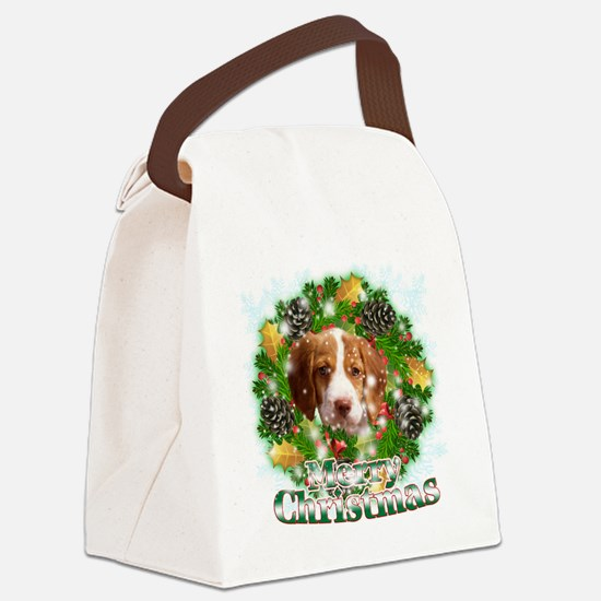 Merry Christmas Brittany Spaniel Canvas Lunch Bag