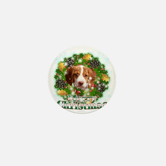 Merry Christmas Brittany Spaniel Mini Button