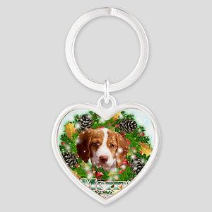 Merry Christmas Brittany Spaniel Heart Keychain