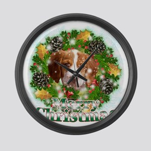 Merry Christmas Brittany Spaniel Large Wall Clock