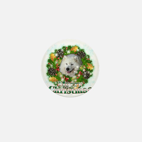 Merry Christmas Samoyed Mini Button