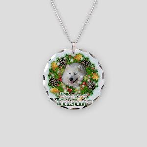 Merry Christmas Samoyed Necklace Circle Charm