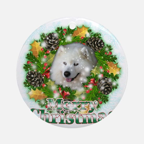 Merry Christmas Samoyed Round Ornament