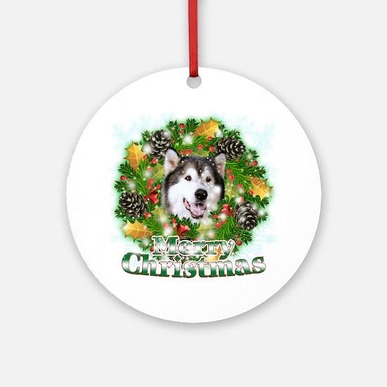 Merry Christamas Alaskan Malamute Round Ornament