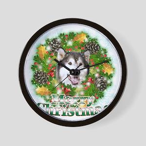Merry Christamas Alaskan Malamute Wall Clock