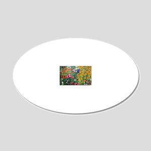 Klimt Flowers Beach 20x12 Oval Wall Decal