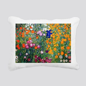 Klimt Flowers Beach Rectangular Canvas Pillow