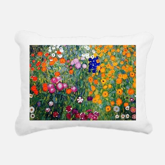Klimt Flowers Beach Rectangular Canvas Pillow