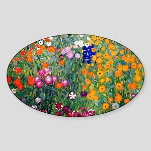 Klimt Flowers Beach Sticker (Oval)