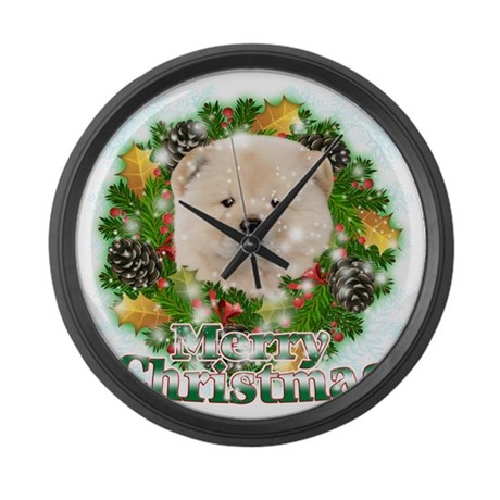 Merry Christmas Chow Chow Large Wall Clock