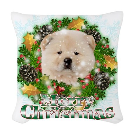 Merry Christmas Chow Chow Woven Throw Pillow