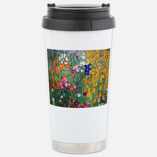 Klimt Flowers Toiletry Stainless Steel Travel Mug