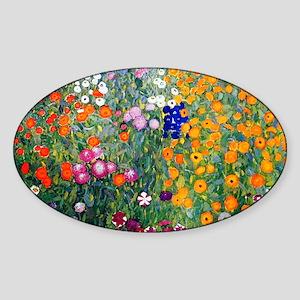 Klimt Flowers Toiletry Sticker (Oval)
