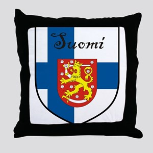 Suomi Flag Crest Shield Throw Pillow