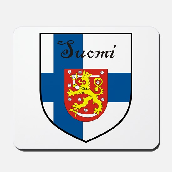 Suomi Flag Crest Shield Mousepad