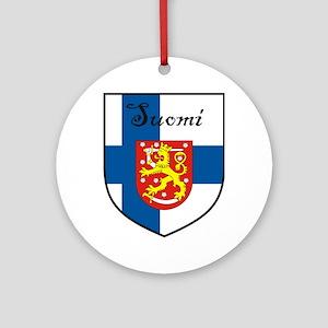 Suomi Flag Crest Shield Ornament (Round)