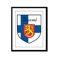 Suomi Flag Crest Shield Framed Panel Print
