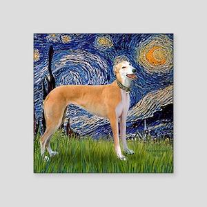 "Square-Starry-Greyhound Mus Square Sticker 3"" x 3"""