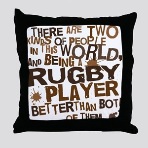 rugbyplayerbrown Throw Pillow
