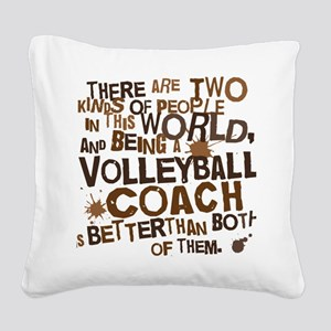volleyballcoachbrown Square Canvas Pillow