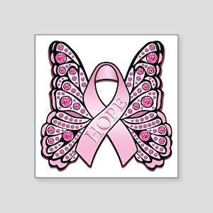 "PinkHopeButterflyBtr Square Sticker 3"" x 3"""