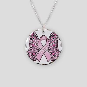 PinkHopeButterflyBtr Necklace Circle Charm