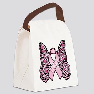 PinkHopeButterflyBtr Canvas Lunch Bag