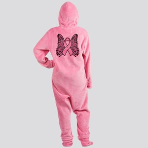 PinkHopeButterflyBtr Footed Pajamas