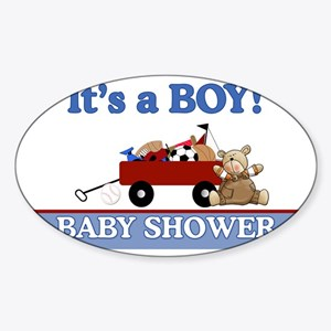 Its a Boy baby shower yard sign Sticker (Oval)