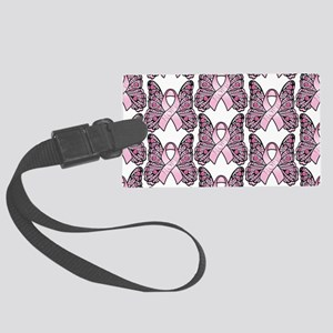 PinkHopeBttflyLaptopTR Large Luggage Tag