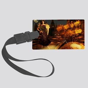 steampunklady_wallpeel22x14 Large Luggage Tag