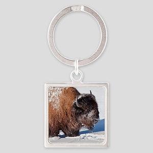Bison Square Keychain