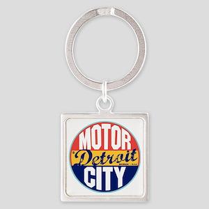 Detroit Vintage Label W Square Keychain