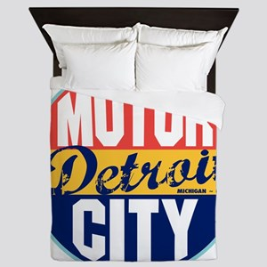 Detroit Vintage Label W Queen Duvet