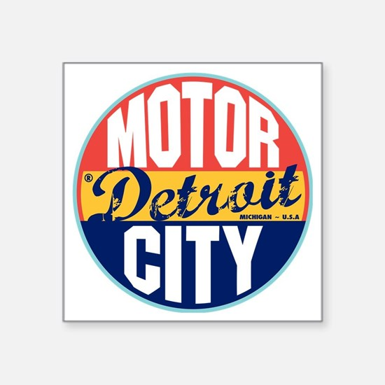 "Detroit Vintage Label W Square Sticker 3"" x 3"""