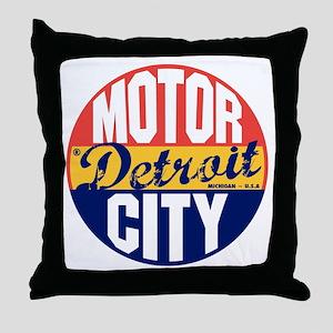 Detroit Vintage Label B Throw Pillow