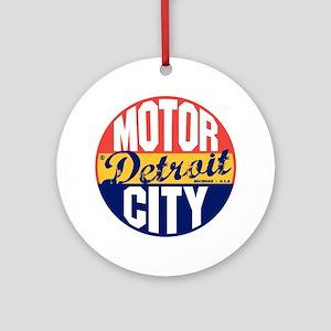 Detroit Vintage Label B Round Ornament