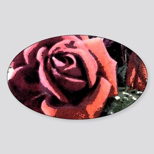 Rose Painting Sticker (Oval)