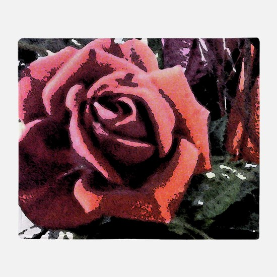 Rose Painting Throw Blanket