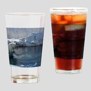 Beluga Whale jumping 2 Drinking Glass
