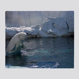 Beluga Whale jumping 2 Throw Blanket