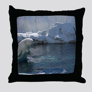Beluga Whale jumping 2 Throw Pillow